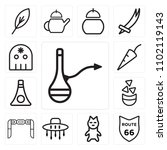 set of 13 icons such as hookah  ...