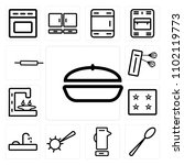 set of 13 icons such as frying...