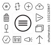 set of 13 icons such as menu ...