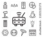 set of 13 icons such as router  ...