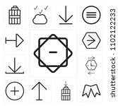 set of 13 icons such as compass ...
