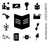 set of 13 icons such as book ...