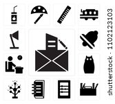 set of 13 icons such as letter  ...