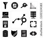 set of 13 icons such as search...