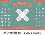 cross adhesive bandage  medical ... | Shutterstock .eps vector #1102146263