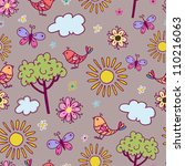 Seamless texture with birds and flowers.Seamless pattern can be used for wallpaper, pattern fills, web page background,surface textures. - stock vector