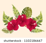 set of green tropical leaves ... | Shutterstock .eps vector #1102186667