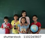 student group with teacher... | Shutterstock . vector #1102265837