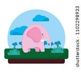 adorable elephant wild animal...   Shutterstock .eps vector #1102298933