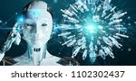 white woman robot on blurred...   Shutterstock . vector #1102302437