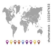 world map. set of color pointers | Shutterstock .eps vector #1102347653
