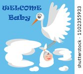 welcome baby  greeting card... | Shutterstock .eps vector #1102355933
