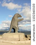 Small photo of PUERTO NATALES, CHILE-NOV.15, 2012: A sculpture of an extinct Giant Sloth, which once roamed the area, along the waterfront.