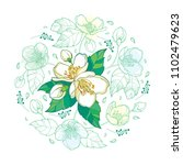 vector round bouquet with... | Shutterstock .eps vector #1102479623