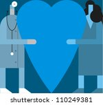 A physician and a woman hold a large heart - stock vector