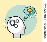 silhouette man gears brain idea ... | Shutterstock .eps vector #1102520963
