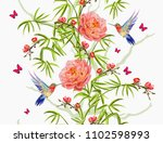 colorful  hand drawn floral... | Shutterstock .eps vector #1102598993