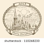 retro christmas illustration | Shutterstock .eps vector #110268233