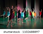 girls are dancing on stage. | Shutterstock . vector #1102688897