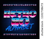 80's retro alphabet font.... | Shutterstock .eps vector #1102738673