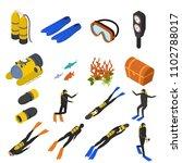 scuba diving signs 3d icons set ...   Shutterstock .eps vector #1102788017