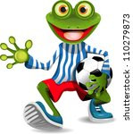 frog football player - stock vector