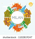 milan italy city skyline with... | Shutterstock . vector #1102819247