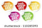 fresh natural juice stickers...   Shutterstock .eps vector #110285393