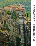 Monastery from Meteora-Greece, beautiful landscape with tall rocks with buildings on them. - stock photo