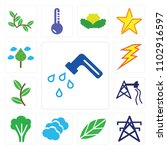 set of 13 icons such as water...
