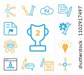 set of 13 icons such as trophy  ...