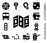 set of 13 icons such as map ...