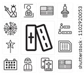 set of 13 icons such as bible ...