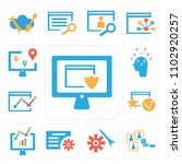 set of 13 icons such as monitor ...