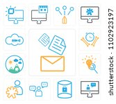 set of 13 icons such as email ...
