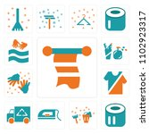 set of 13 icons such as towel ...