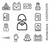 set of 13 icons such as nun ...
