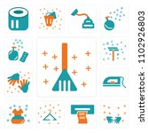 set of 13 icons such as dustpan ...