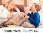 happy mother and her son... | Shutterstock . vector #110293157