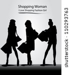 fashion model with silhouette... | Shutterstock .eps vector #110293763