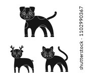 toy animals black icons in set... | Shutterstock .eps vector #1102990367