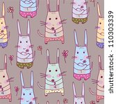Seamless pattern with rabbits.Seamless pattern can be used for wallpaper, pattern fills, web page background,surface textures. - stock vector