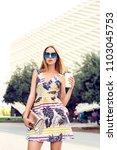 summer sunny lifestyle portrait ... | Shutterstock . vector #1103045753