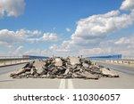 Damaged Asphalt Road And Bridg...