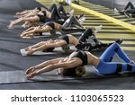 group of girls is training with ... | Shutterstock . vector #1103065523