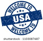 welcome to usa blue stamp | Shutterstock .eps vector #1103087687