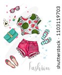 summer fashionable outfit.... | Shutterstock .eps vector #1103119703