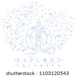 rocket launch into undiscovered ... | Shutterstock .eps vector #1103120543