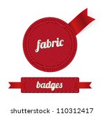 Red Vector Fabric Badges With...