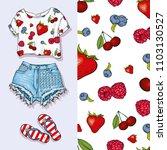 vector background of berries... | Shutterstock .eps vector #1103130527